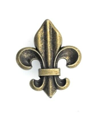 Fleur de Lis Drawer Cabinet Knobs Pull Antique Brass Finish French Decor