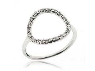 Sovats Real 925 Silver Open Round Rings with Cubic Zirconia for Women, Size 5-12
