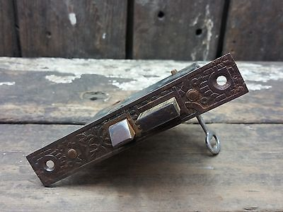 VTG Old Antique Fancy Metal EASTLAKE Mortise Door Lock w/ Working Skeleton KEY /
