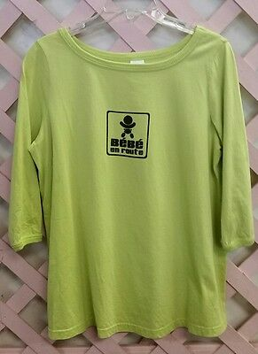 Cute Graphic 3/4 Sleeve Maternity T Shirt from France Bebe En Route Sz. M EUC