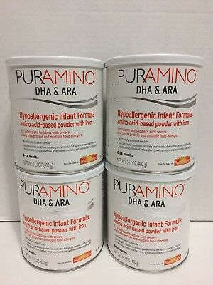 4 - 14.1oz cans PURAMINO with DHA/ARA by NUTRAMIGEN - NEW EXP 2018