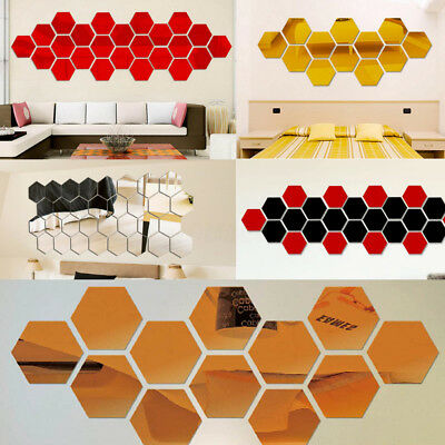 12Pcs 3D Big Mirror Hexagon Vinyl Removable Wall Stickers Art Decal Decoration
