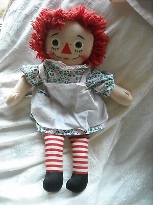 vintage old cloth knickerbocker toy raggedy ann anne doll apron nice condition.