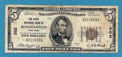 1929 First National Bank of Binghamton New York Charter 202 $5 Type 1