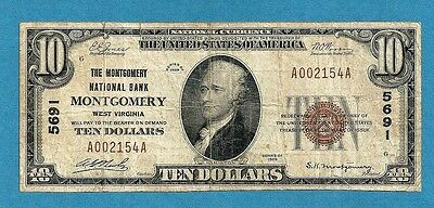 1929 $10 Type 1 Montgomery West Virginia Nat. Bank # 5691 Fine 14 Known !