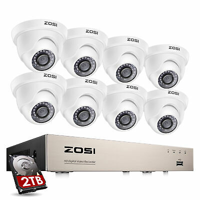 ZOSI 8CH DVR Surveillance Security Camera System 1080p HD with Hard Drive 2TB