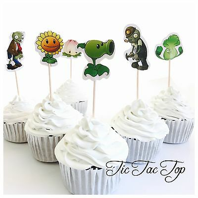 12x Plants Vs Zombies Cupcake Food Topper Pick. Party Supplies Lolly Loot Bag