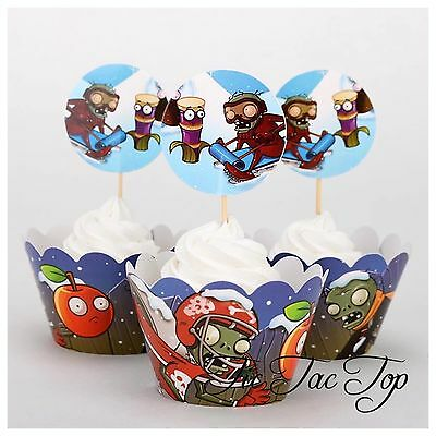 12x Plants Vs Zombies Cupcake Toppers + Wrappers. Party Supplies Lolly Loot Bags