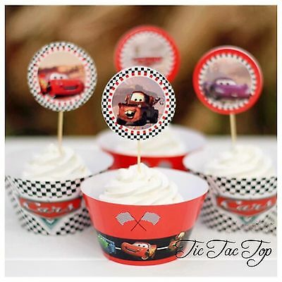12 Disney Cars Cupcake Wrappers + 12 Topper. Party Supplies Lolly Loot Bag Deco