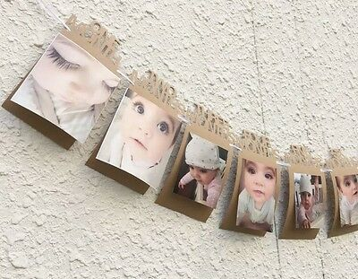 🍼1x Baby First Year Party Photo Banner Bunting Flag 1st Birthday Present Gift