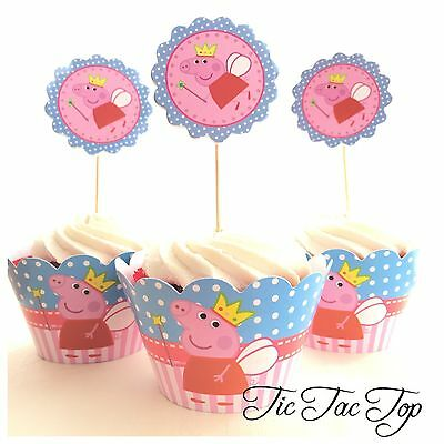 12x Peppa Pig Fairy Cupcake Toppers + Wrappers. Party Supplies Lolly Bag Loot
