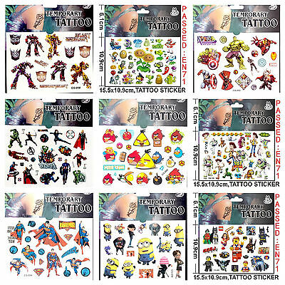 Cartoon Kids Temporary Tattoo Sticker Party Supplies Lolly Loot Bag Cake Banner