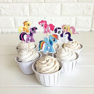 🌈12 X MY Little Pony CUPCAKE CAKE TOPPERS Party Supplies Lolly Loot Bags  Deco