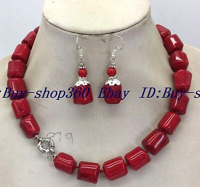"""Charming! Amazing 11x14mm Red Cylinder Coral Gemstone Necklace 18 """"Earrings Set"""