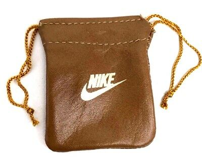 Vintage Rare 80's Nike Leather Bag w Nylon Pull Cord Beige with Gold Nike Logo