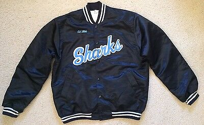 Large Mens Cronulla Sharks Baseball Jacket - Nylon with Cotton Lining Pre Owned