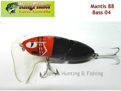 Kingfisher Mantis 88mm articulated surface lure; 04 bass + spare bib