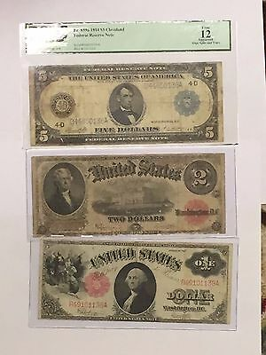 Lot Of 3 Rare Large Currency Notes:$1 1917, $2 1917, $5 1914 Frn Pcgs F-12 #!50