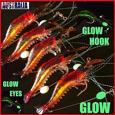 5 x Fishing Lures Prawn shrimp Bream Flathead Whiting Bass Soft Plastics Lure