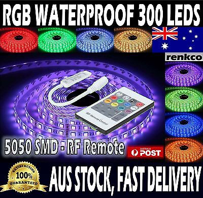 Waterproof 5050 RGB 5M 300 LEDs SMD LED Strip Lights 12V + 20 Key RF Controller