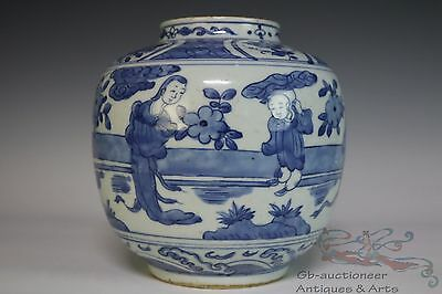 Blue and White Beautiful Chinese Porcelain Characters Pot