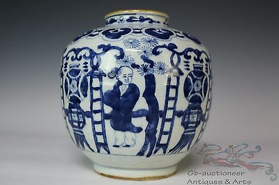 Blue and White Beautiful Chinese Porcelain Character Pot