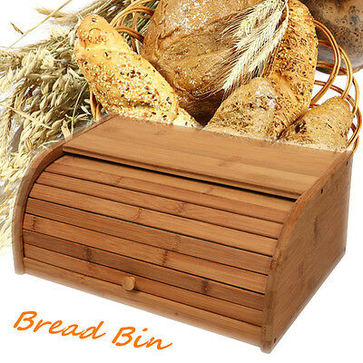 Bamboo Wooden Roll Top Bread Bin Loaf Container Home Kitchen Food Storage Boxes