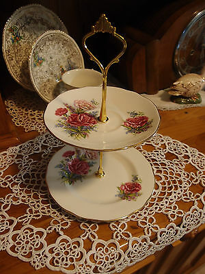 Vintage Duchess Caranation Cake biscuit trinket high tea stand 2 tier