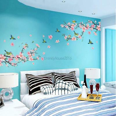 AU Peach Blossom Flowers Birds Branch Removable Mural Wall Stickers Decal Decor