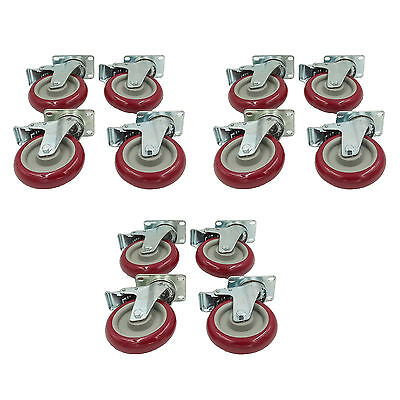 "Set of 12 Plate Caster with 5"" Polyurethane Wheels All Swivel All Brake Casters"