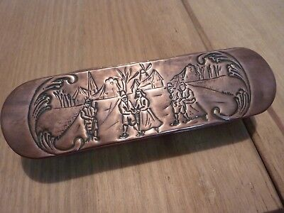 "Antique Dutch Brass and Copper Tobacco/Snuff box with engraved ""Winter Scenes""."