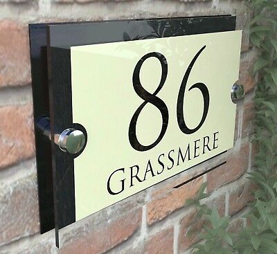 Personalised Acrylic Cream & Black House Signs Plaques Door Numbers Name Plate