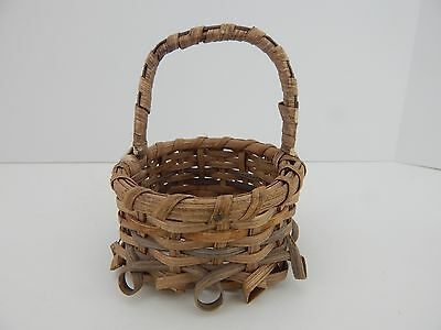 Wicker Basket w/ Handle Great Accessory for Byers Choice or Doll Display Scene e
