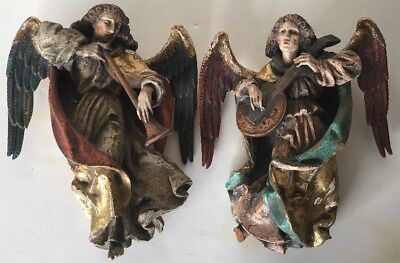 ANTIQUE HAND CARVED & PAINTED WOOD ANGELS with INSTRUMENTS - RELIGIOUS