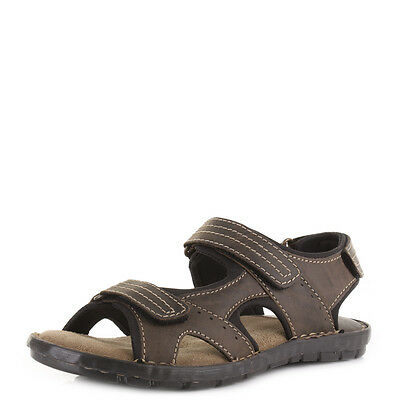 Mens Brown Leather  Adventure Activity Cushioned Summer Sandals Size