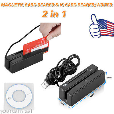 2-In-1 USB Credit Card Reader/Writer Card 3 Track Magnetic IC Chip Stripe Swipe