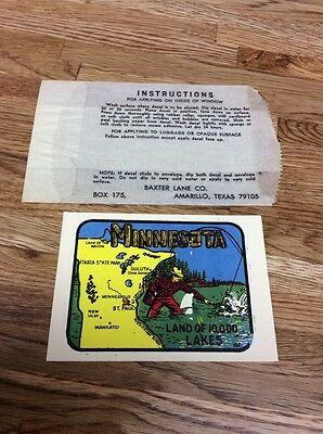 Vintage Minnesota Land Of 10,000 Lakes Map Fishing Travel Decal Sticker Souvenir