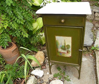 Green Vintage 1928  Bedside Cabinet Made In Bulgaria  Metal Cupboard