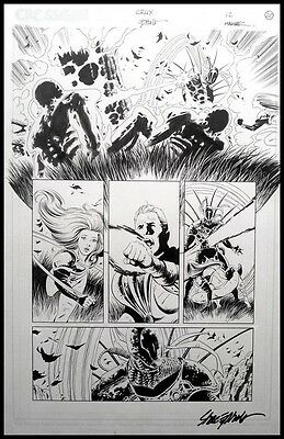 CRUX #12 p.20 Battle Action signed by Steve Epting