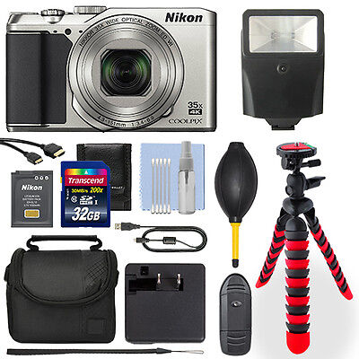 Nikon Coolpix A900 20MP 4K Digital Camera Silver + 32GB Deluxe Accessory Package