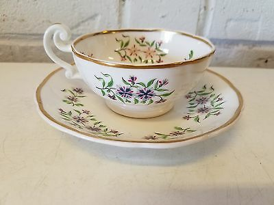 Vintage Possibly Antique English Porcelain Cup & Saucer w/ Floral Decorations