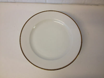 Vintage German Hutschenreuther Set of 8 Plates w/ Black & Gold Decorated Rims