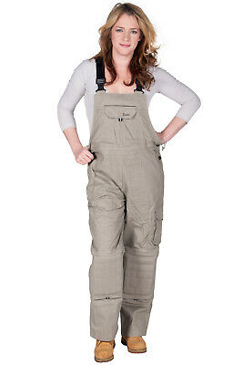 Rosies - Womens Dungarees - Beige Ladies Work Overalls Tan Workwear