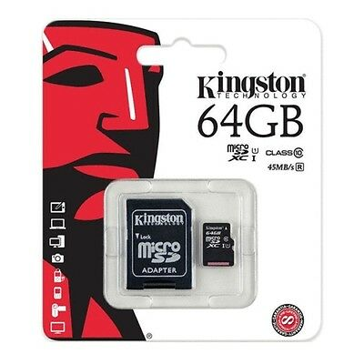 Kingston Micro SD 64GB SDXC Memory Card For Samsung Mobile Phone/Camera Class 10