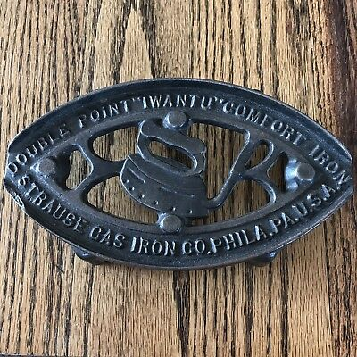 "Antique Cast Iron Double Point ""I Want U"" Comfort Iron Philadelphia, PA"