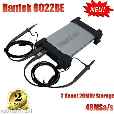 HANTEK PC USB 2CH Digital Oscilloscope Oszilloskop 20MHz 48M Sa/s 1M Byte/CH New