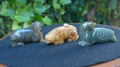 Group of Three Nephrite Jade Netsuke Amulets Goat- Beast Man-Bird.