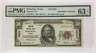 1929 $50 Houston Texas ~ PMG Choice Uncirculated CU 63 EPQ ~ CH# 9353 FR# 1803-1