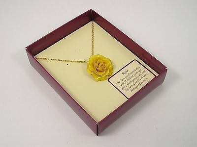 Real Yellow Rose Pendant and 24k Gold Chain (Free Anniversary Gift Box)