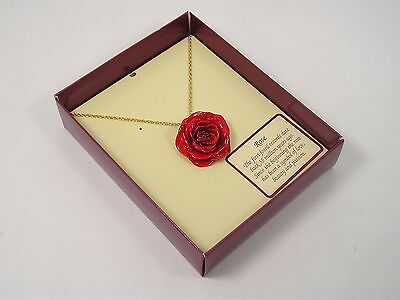 Real Red Rose Pendant and 24k Gold Chain (Free Anniversary Gift Box)
